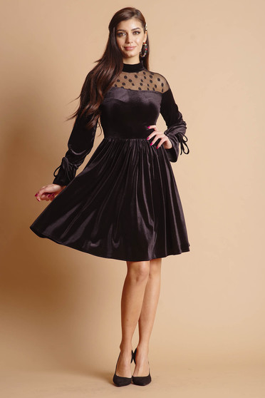 Dress black midi occasional with net accessory from velvet long sleeved cloche