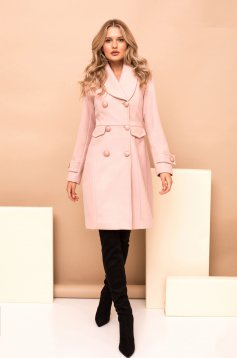 Lightpink casual coat straight cloth with inside lining