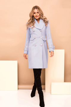 Blue casual coat straight cloth with inside lining