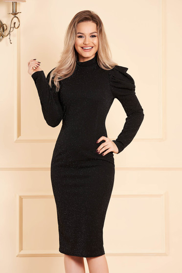 Black dress occasional with glitter details arched cut high shoulders