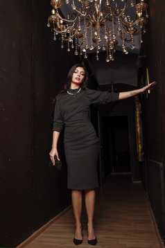 Black dress midi turtleneck occasional 3/4 sleeve pencil high shoulders