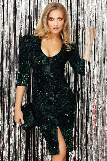 Green dress with sequins occasional slit with v-neckline with 3/4 sleeves