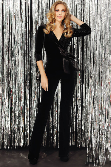 Black jumpsuit occasional from velvet with v-neckline wrap over front flared pants 3/4 sleeve