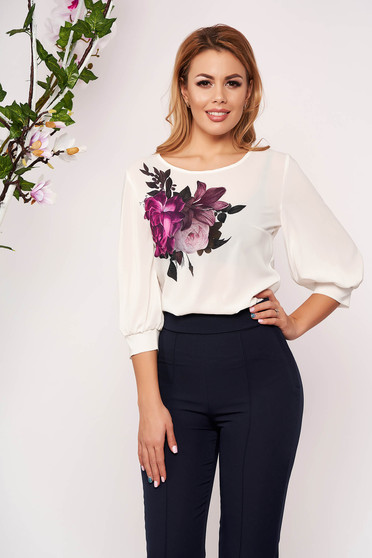 StarShinerS white women`s blouse casual elegant with floral prints with 3/4 sleeves neckline