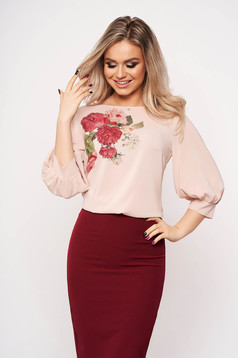 StarShinerS lightpink women`s blouse casual elegant with veil sleeves with 3/4 sleeves with floral print