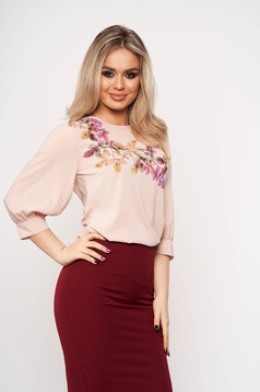 StarShinerS lightpink women`s blouse casual elegant with 3/4 sleeves with floral prints