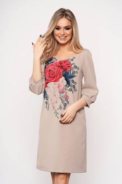 StarShinerS cappuccino dress scuba midi with floral print with v-neckline long sleeved
