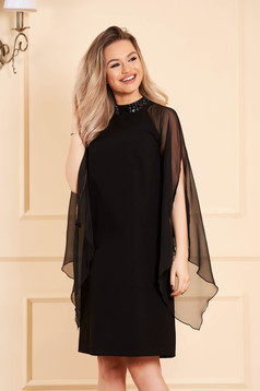 StarShinerS black dress with turtle neck occasional with veil sleeves straight