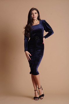 Darkblue dress from velvet long sleeved occasional pencil flower shaped accessory