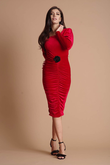 Red dress from velvet long sleeved occasional pencil flower shaped accessory
