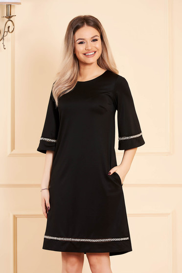 Dress StarShinerS black occasional straight 3/4 sleeve large sleeves with 3/4 sleeves with pockets