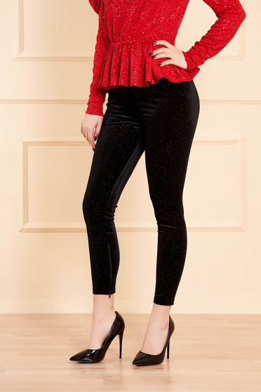 Black tights clubbing with crystal embellished details with elastic waist high waisted velvet