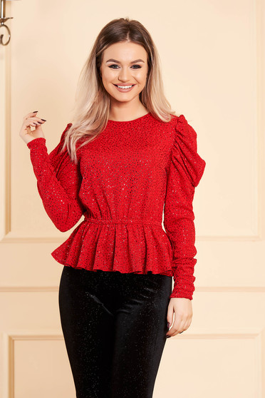 Red women`s blouse occasional short cut peplum high shoulders long sleeved
