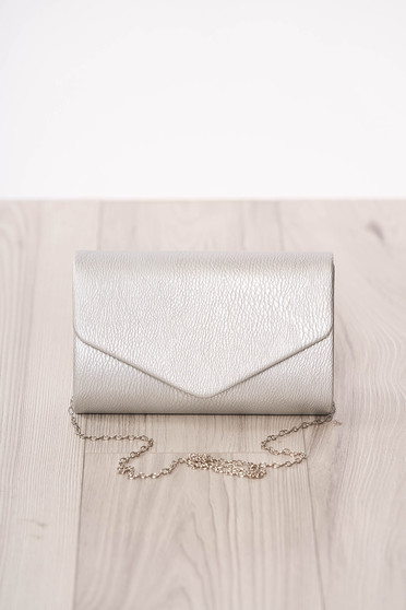 Bag clutch silver occasional from ecological leather metal eyelets fastening accessorized with chain