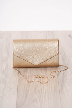 Bag clutch gold occasional from ecological leather metal eyelets fastening accessorized with chain