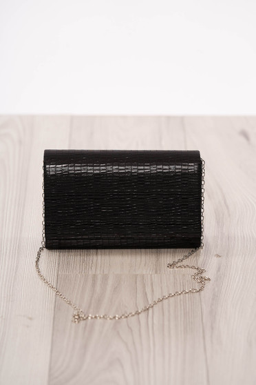 Bag clutch black occasional from ecological leather long chain handle