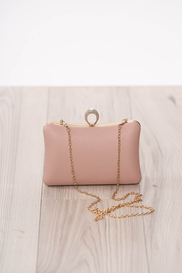 Bag lightpink occasional from ecological leather long chain handle buckle accessory