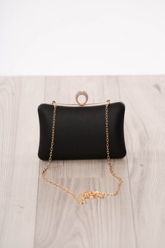 Bag black occasional from ecological leather long chain handle buckle accessory