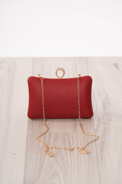 Bag red occasional from ecological leather long chain handle buckle accessory