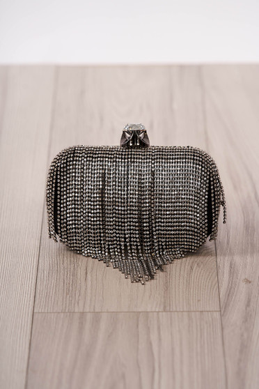 Bag black occasional fringes strass long chain handle detachable chain