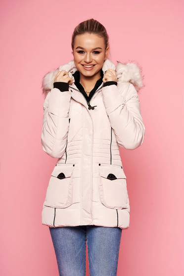 Cream jacket short cut casual from slicker with pockets with furry hood