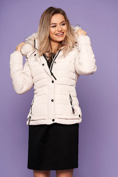 Cream jacket casual short cut with front pockets detachable hood with furry hood