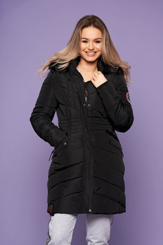 Black jacket casual from slicker with pockets long sleeve with furry hood