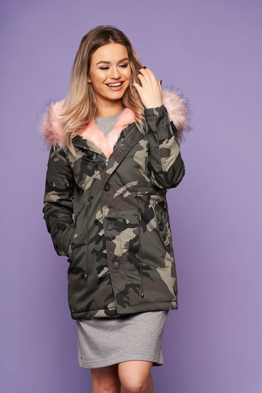 Grey jacket casual midi with front pockets long sleeved with undetachable hood with furry hood