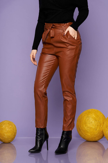 Trousers brown casual from ecological leather conical high waisted accessorized with tied waistband with pockets