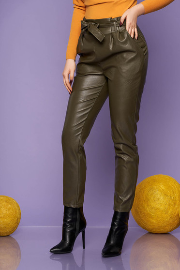Trousers green casual from ecological leather conical high waisted accessorized with tied waistband with pockets
