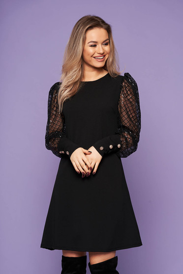 Dress black elegant short cut slightly elastic fabric straight with puffed sleeves with sequin embellished details