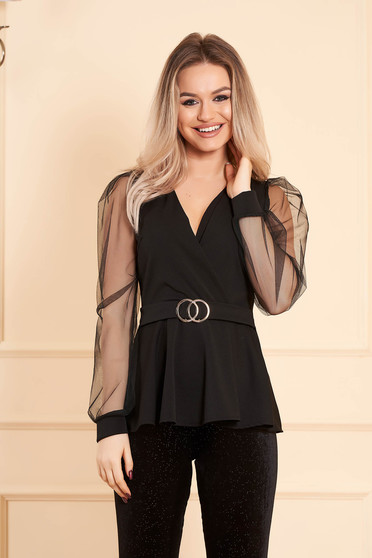 Women`s blouse black elegant wrap over front long sleeved transparent sleeves buckle accessory
