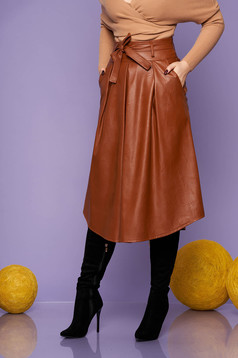 Brown skirt casual midi cloche with pockets from ecological leather detachable cord back zipper fastening