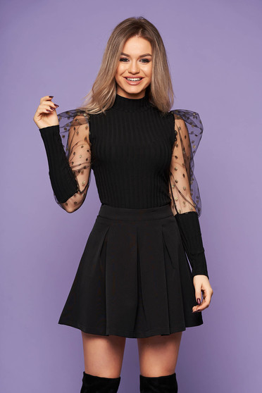 Women`s blouse black clubbing knitted fabric turtleneck long sleeved with puffed sleeves from tulle dots print