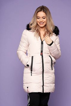 Cream jacket casual midi with pockets long sleeved with undetachable hood with furry hood