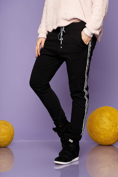 Trousers black casual cotton straight with pockets with elastic waist