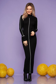 Black dress casual daily long pencil with turtle neck knitted arched cut