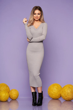 Grey dress casual daily knitted fabric long sleeved arched cut with v-neckline