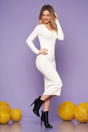 White dress casual daily knitted fabric long sleeved arched cut with v-neckline