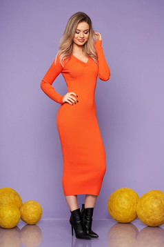 Orange dress casual daily knitted fabric long sleeved arched cut with v-neckline