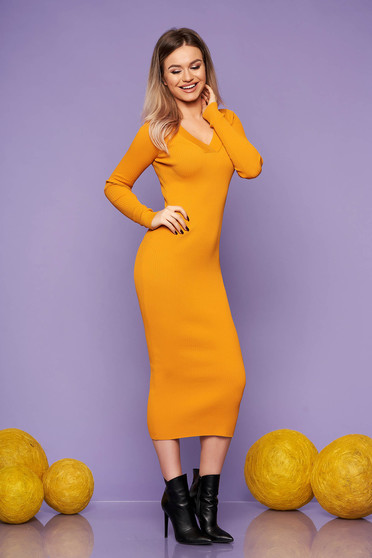 Mustard dress casual daily knitted fabric long sleeved arched cut with v-neckline