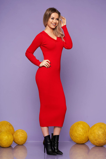Red dress casual daily knitted fabric long sleeved arched cut with v-neckline