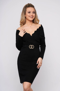Black dress casual short cut pencil knitted fabric wrap over front with metalic accessory