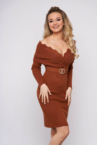 Brown dress casual short cut pencil knitted fabric wrap over front with metalic accessory
