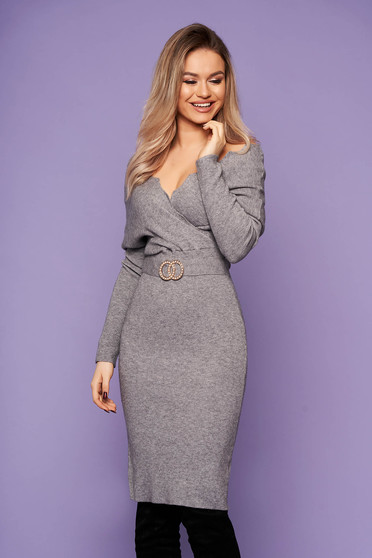 Grey dress casual short cut pencil knitted fabric wrap over front with metalic accessory