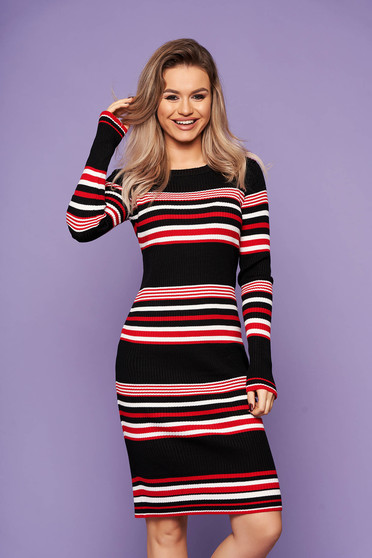 Black dress casual daily midi pencil knitted fabric long sleeved horizontal stripes