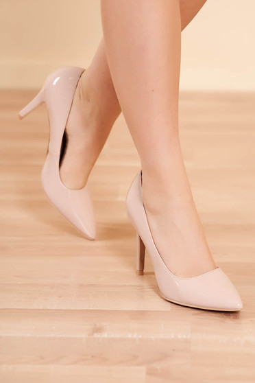 Shoes nude elegant from ecological leather lacquer fabric with high heels slightly pointed toe tip