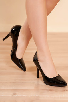 Shoes black elegant from ecological leather lacquer fabric with high heels slightly pointed toe tip