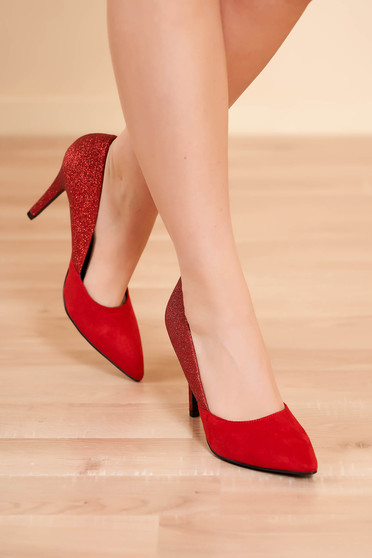 Shoes red elegant from ecological leather with high heels with glitter details
