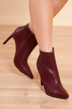 Ankle boots burgundy elegant from ecological leather with high heels side zip fastening